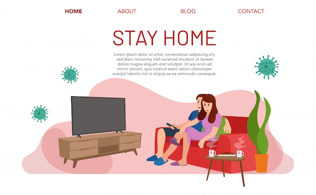 Landing page of stay at home. a family is watching television during the covid-19 virus pandemic