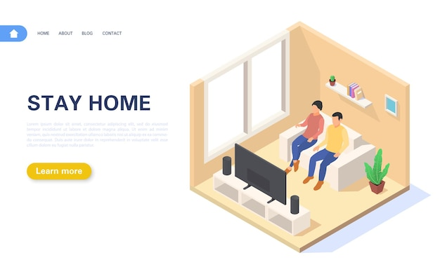 Landing page stay at home. a young couple is at home in self-isolation or quarantine.