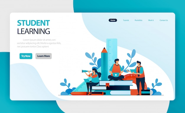 Landing page for student learning and education. student study. online mobile modern learning. knowledge acquired through experience, study, being taught.