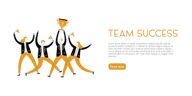 Landing page of success team bringing trophy in childish style