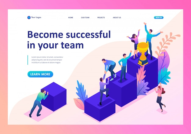 Landing page of successful young team, upward movement