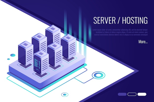 Landing page suggesting to buy or rent a servers and hosting