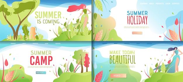 Landing page summer set, предлагающий отдых и досуг