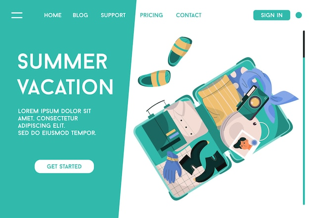 Landing page of summer vacation concept