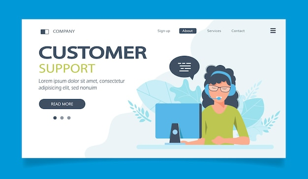 Landing page for support assistance call center