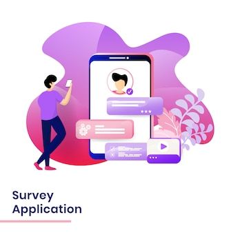Landing page survey application illustration