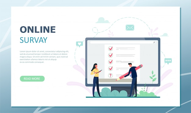 Landing page survey illustration. concept of flat mini persons with quality control and satisfaction report. customer reviews or opinion form.