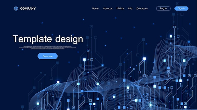 Landing page tech background with abstract circuit board textures. geometric abstract background with lines circuit board. website template design industry. vector illustration.