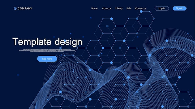 Landing page tech background with abstract circuit board textures. geometric abstract background with lines circuit board . website template design. vector illustration.