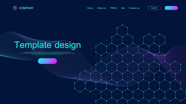 Landing page tech background with colorful dynamic waves and hexagonal boxes. geometric abstract background with lines and dots, cube cell. website template design. illustration.