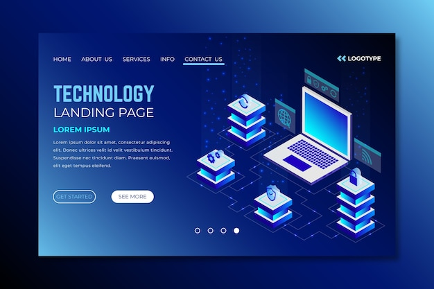 Landing page technology concept template