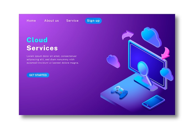 Landing page technology in isometric design