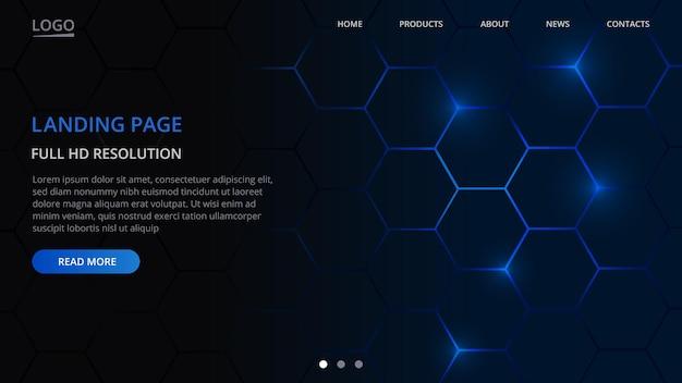 ランディングページテクノロジーウェブサイトテンプレートデザイン