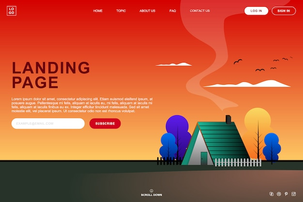 Landing page templat design with summer sunset background