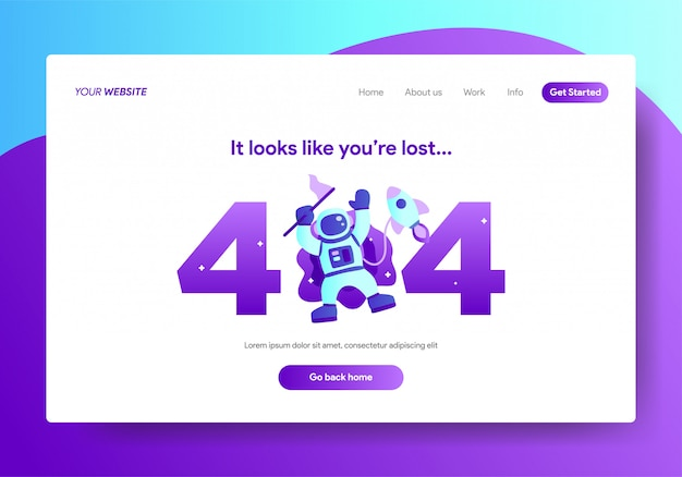 Landing page template of 404 error design