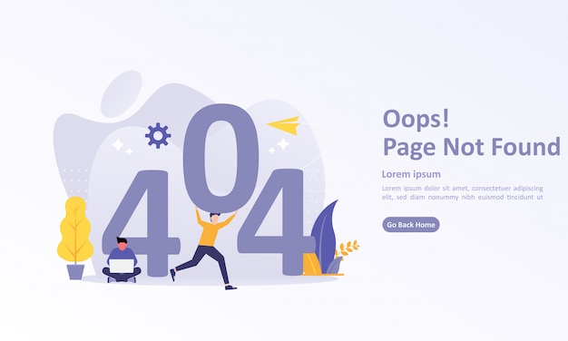 Landing page template of 404 error with character