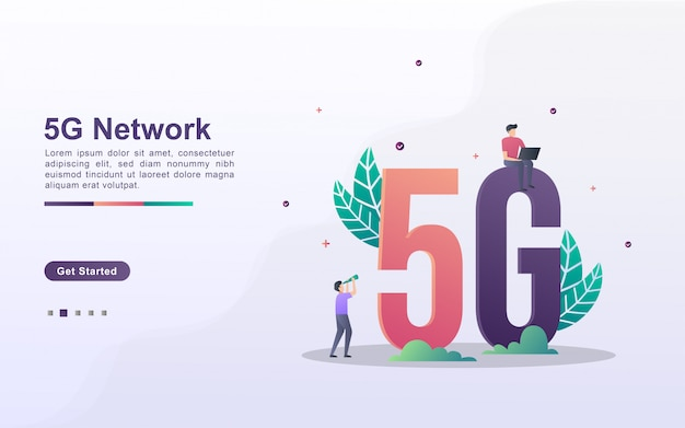 Landing page template of 5g network in gradient effect style