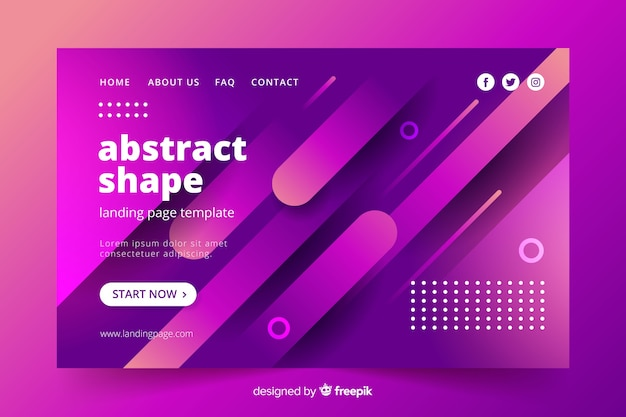 Landing page template in abstract style