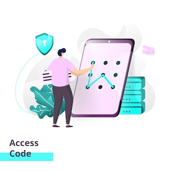 Landing page template of access code.