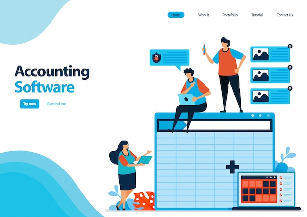 Landing page template of accounting software