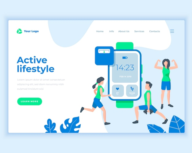 Landing page template active lifestyle concept with sport people.