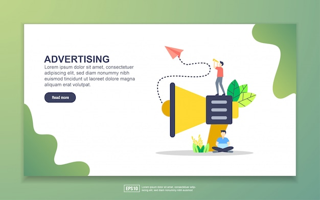 Landing page template of advertising. modern flat design concept of web page design for website and mobile website.
