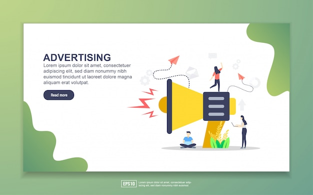 Landing page template of advertising