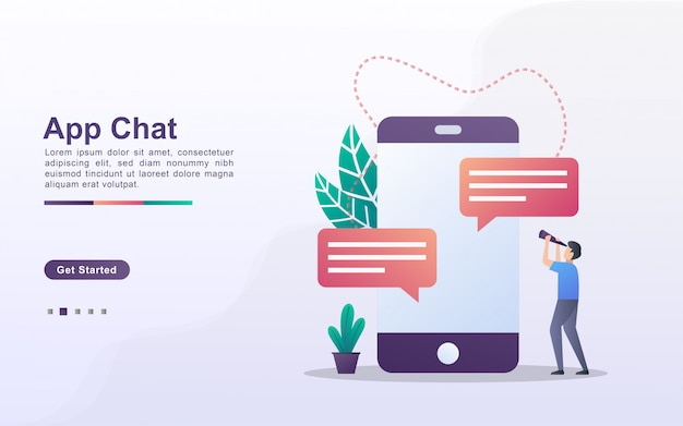Landing page template of app chat in gradient effect style