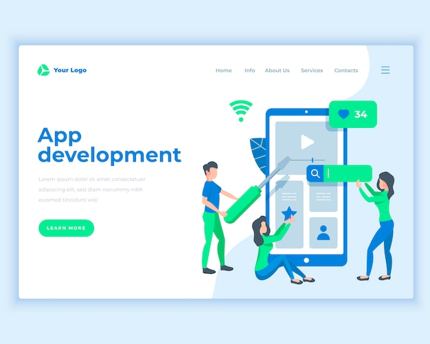 Landing page template application development concept with office people.