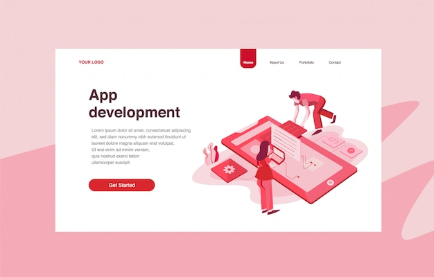 Landing page template of application development