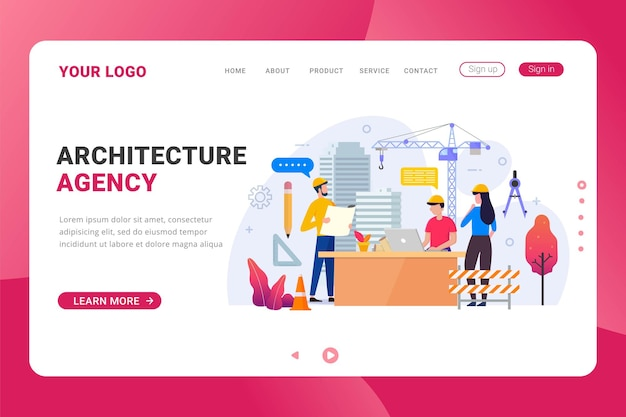 Landing page template for architecture agency