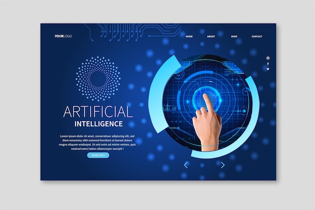 Landing page template for artificial intelligence science