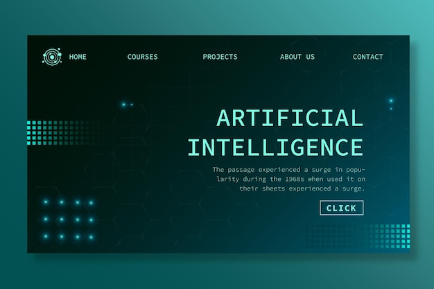 Landing page template for artificial intelligence