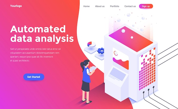 Landing page template of automated data analysis in isometry style