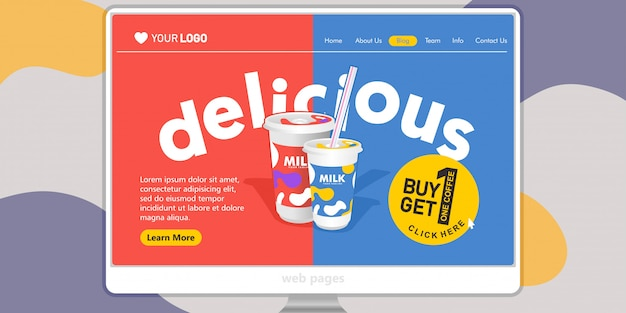 Landing page template background drink