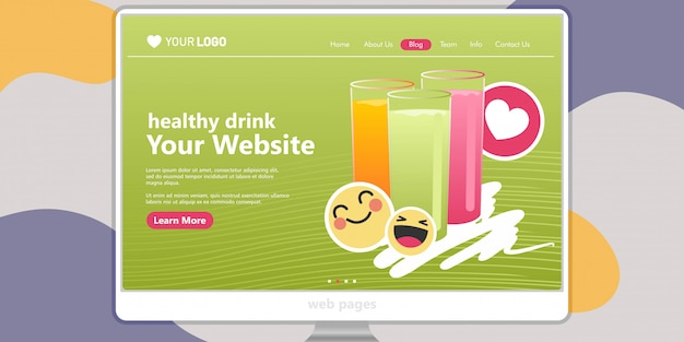 Landing page template background fruit juice