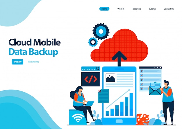 Landing page template of backup mobile work data and personal documents to cloud computing.