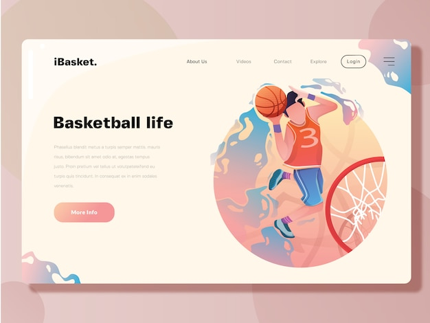 Landing page template, basketball web vector illustration