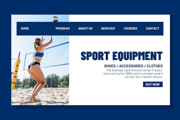 Landing page template for beach volleyball