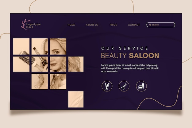 Landing page template for beauty salon