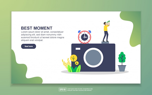 Landing page template of best moment. photography concept. modern flat design concept of web page design for website and mobile website