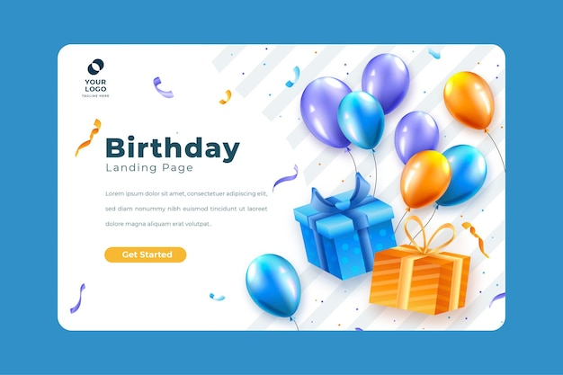 Landing page template for birthday celebration