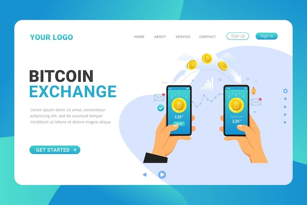 Landing page template bitcoin exchange transaction on mobile app
