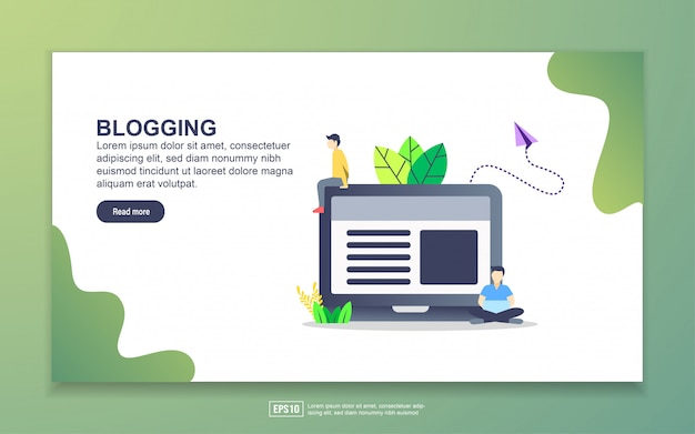 Landing page template of blogging. modern flat design concept of web page design for website and mobile website.