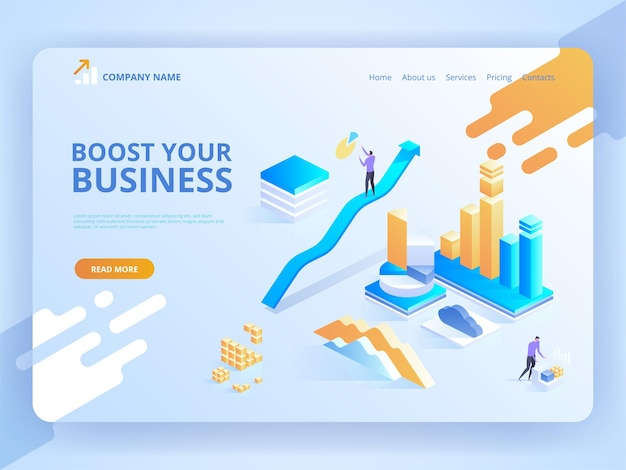 Landing page template of boost your business.