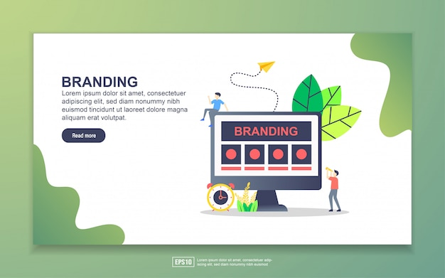 Landing page template of branding. modern flat design concept of web page design for website and mobile website.