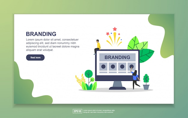 Landing page template of branding. modern flat design concept of web page design for website and mobile website