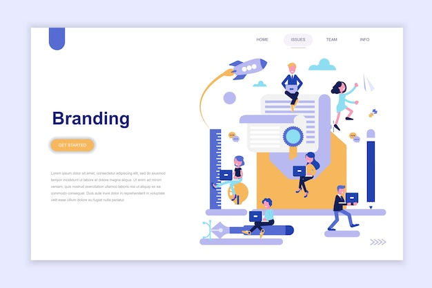 Landing page template of branding