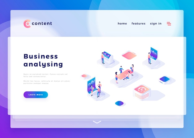 Landing page template for business analysis website