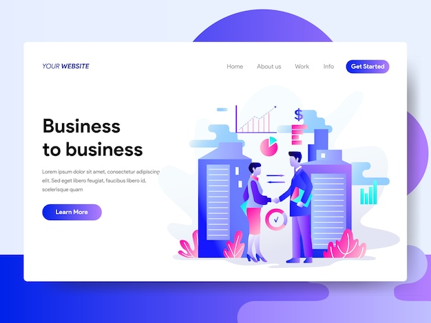Landing page template of business to business concept